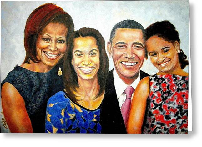 The Obama Family Greeting Card by G Cuffia
