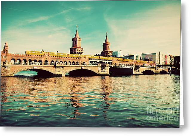 U-bahn Photographs Greeting Cards - The Oberbaum Bridge in Berlin Germany Greeting Card by Michal Bednarek
