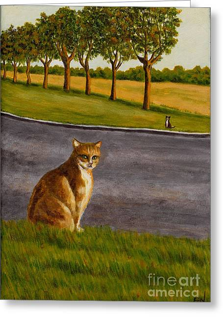 Cat Art Greeting Cards - The Obscure Communication Between Cats Greeting Card by Jingfen Hwu