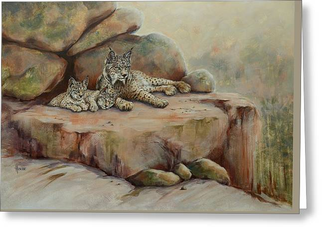 Wildcats Paintings Greeting Cards - The Observation Deck Greeting Card by Cynthia House