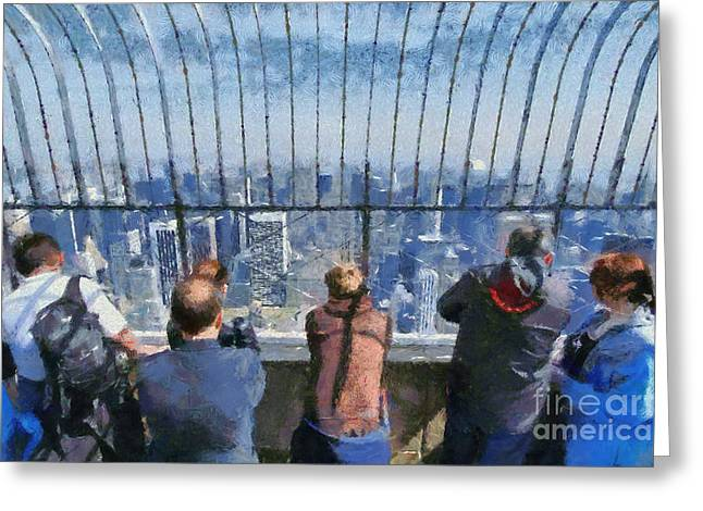 Framed Prints Greeting Cards - The observatory on Empire State Building Greeting Card by George Atsametakis