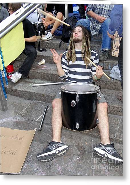 Occupy Greeting Cards - The Occupy Drummer Greeting Card by Ed Weidman