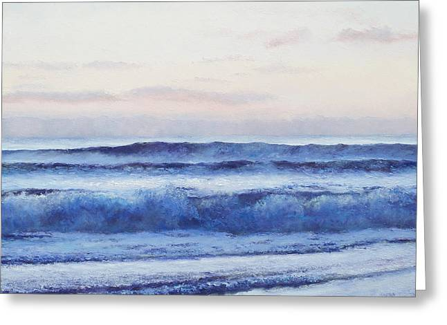Cabin Wall Greeting Cards - The Ocean at Dusk Greeting Card by Jan Matson