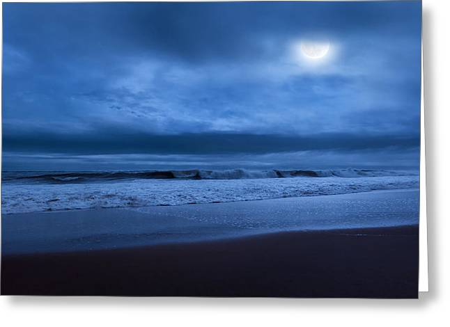 Beach At Night Greeting Cards - The Ocean Moon Greeting Card by Bill  Wakeley