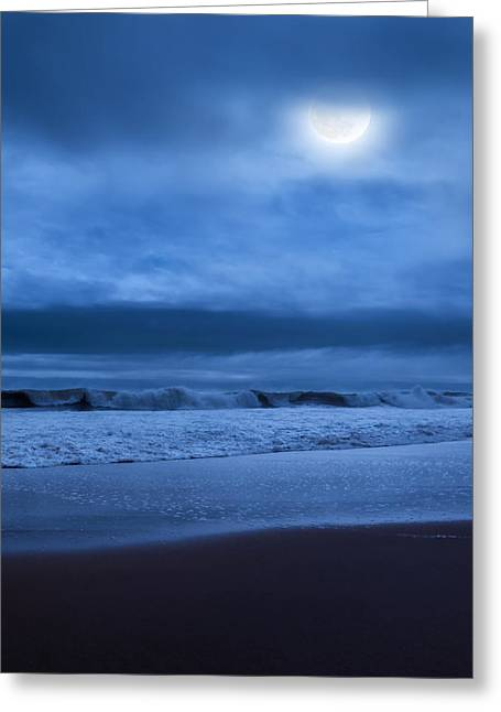 Beach At Night Greeting Cards - The Ocean Moon Square Greeting Card by Bill  Wakeley