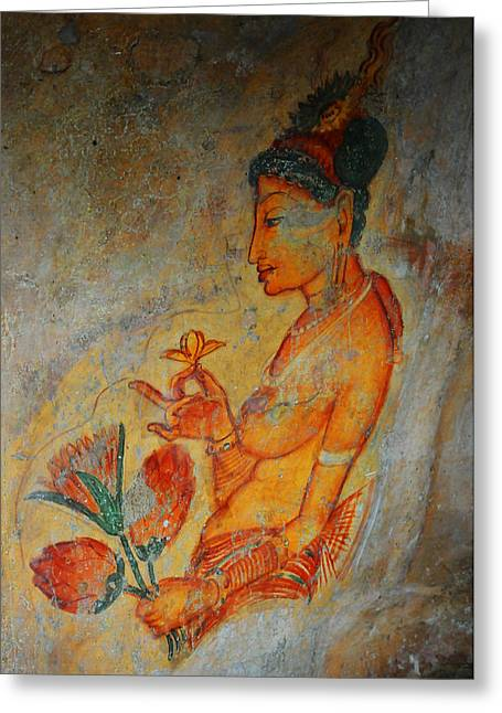 Ceylon Greeting Cards - The Ode for the Women Beauty. Sigiriyan Lady with Flowers. Sigiriya. Sri Lanka Greeting Card by Jenny Rainbow
