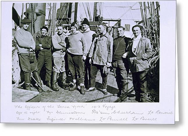 Lead Greeting Cards - The officers of the Terra Nova expedition Greeting Card by Herbert Ponting