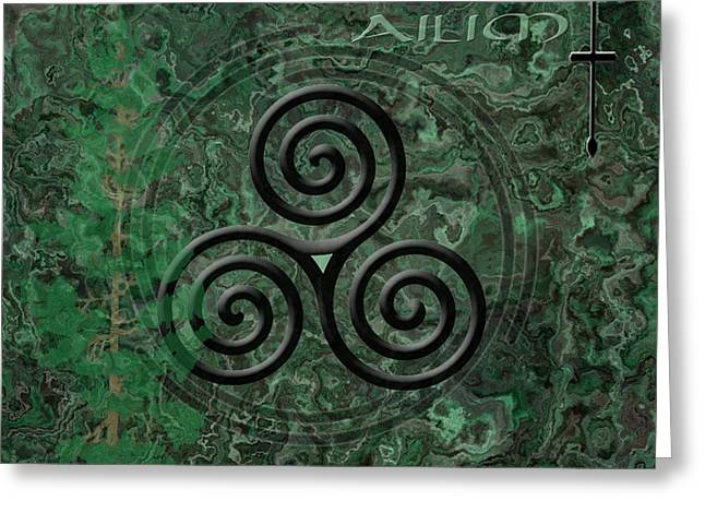 Mystic Art Greeting Cards - The Ogham Ailim Celtic Symbol Greeting Card by Kandy Hurley