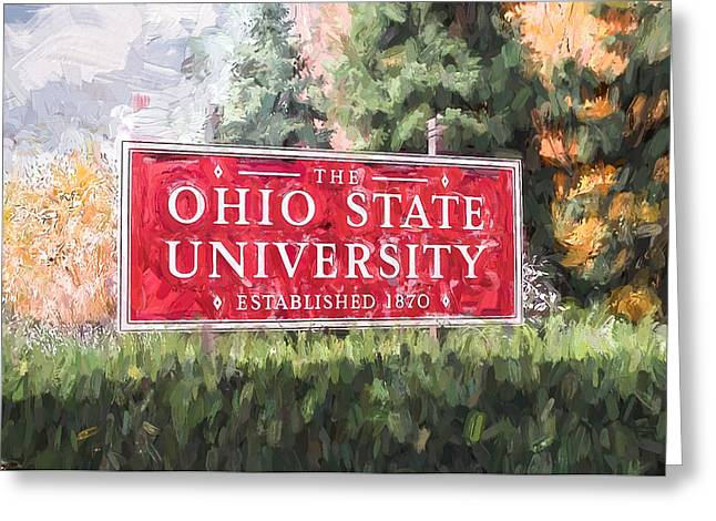 Ike Krieger Greeting Cards - The Ohio State University Greeting Card by Ike Krieger
