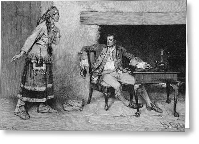 Native Americans Photographs Greeting Cards - The Ojibway Maiden Disclosing Pontiacs Plot, Engraved By John Tinkey Fl.1871-1901 Illustration Greeting Card by Howard Pyle