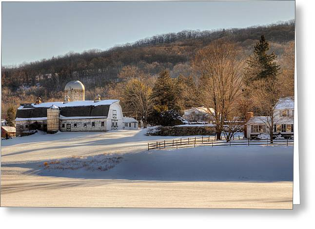 Winter Farm Scene Greeting Cards - The Ol Homestead Greeting Card by Bill  Wakeley