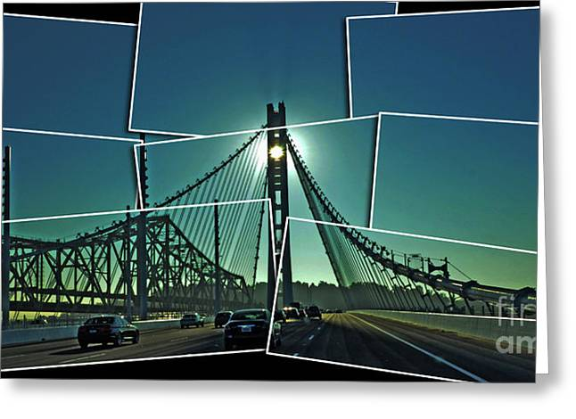 Old Roadway Greeting Cards - The Old and New spans of the Oakland Bay Bridge  Greeting Card by Jim Fitzpatrick