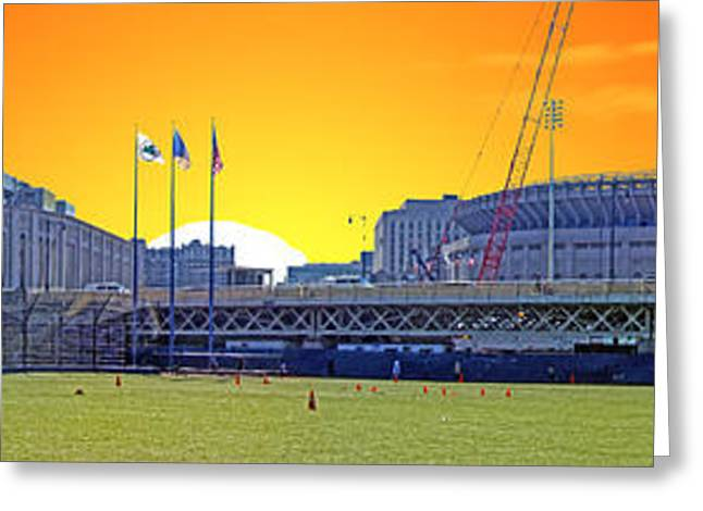 The Old and New Yankee Stadiums Side by Side at Sunset Greeting Card by Nishanth Gopinathan