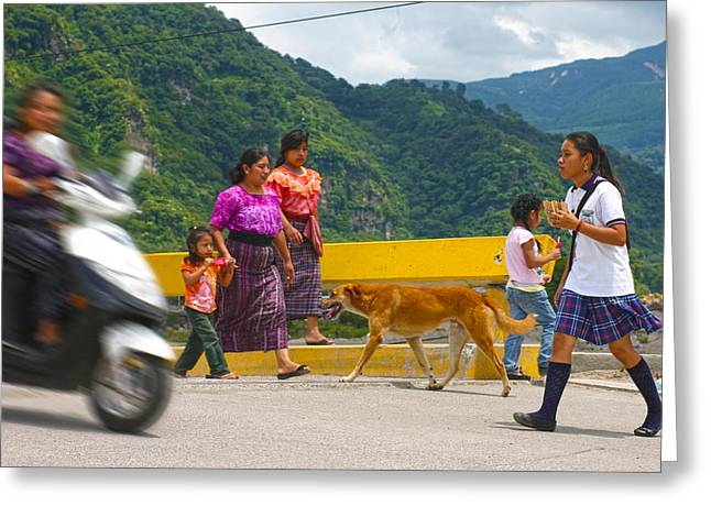 Mayan Dog Greeting Cards - The Old and the New Greeting Card by Lee Vanderwalker