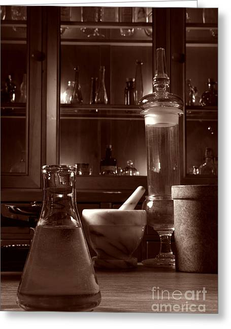 Period Photographs Greeting Cards - The Old Apothecary Shop Greeting Card by Olivier Le Queinec