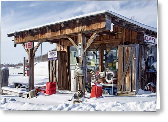 Canoe Mixed Media Greeting Cards - The Old Bait Shop Greeting Card by Linda Muir