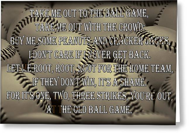 Take-out Photographs Greeting Cards - The Old Ballgame Greeting Card by Ricky Barnard