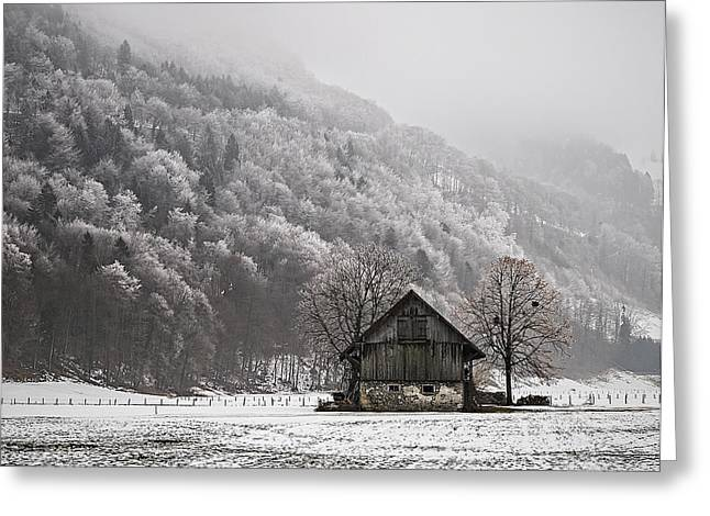 Swiss Photographs Greeting Cards - The Old Barn Greeting Card by Antonio Jorge Nunes