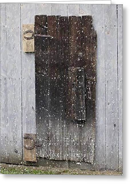 Old Door Pastels Greeting Cards - The Old Barn Door Greeting Card by Olde Time  Mercantile
