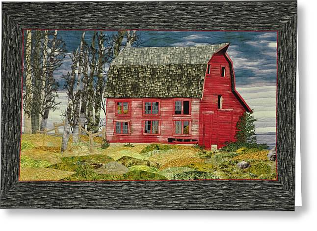 Building Tapestries - Textiles Greeting Cards - The Old Barn Greeting Card by Jo Baner