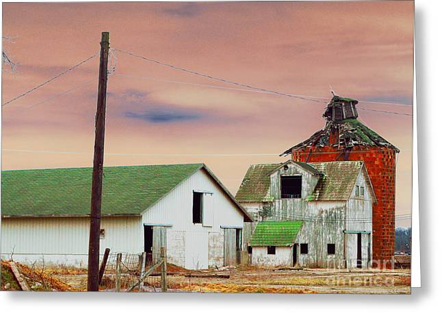 Rural Indiana Digital Art Greeting Cards - The Old Barns Greeting Card by Alys Caviness-Gober