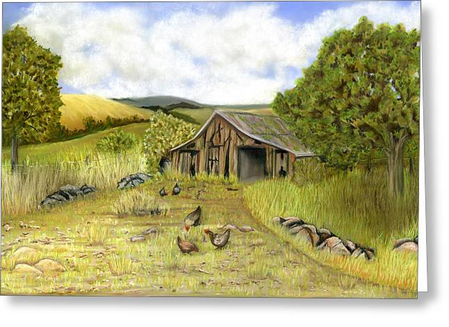 Old Barn Pastels Greeting Cards - The Old Barnyard Greeting Card by Sarah Dowson