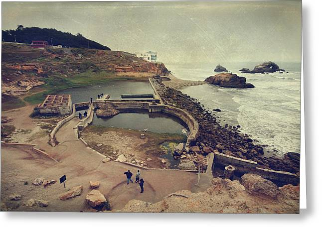 Gray Building Greeting Cards - The Old Bath House Greeting Card by Laurie Search