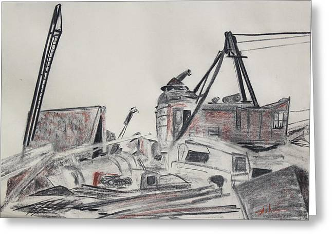 Old Objects Drawings Greeting Cards - The Old Berkeley Marina Junk Heap on a Foggy Day Greeting Card by Asha Carolyn Young