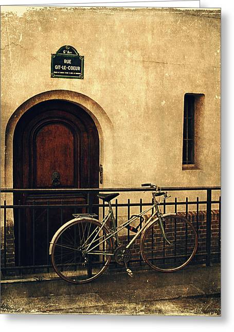 France Doors Digital Art Greeting Cards - The Old Bicycle  Greeting Card by Maria Angelica Maira