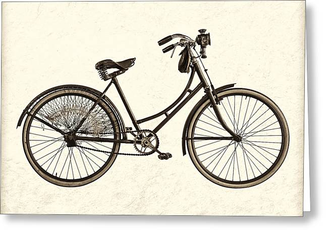 Ladies Bike Greeting Cards - The Old Bike - Sepia Greeting Card by Martin Bergsma