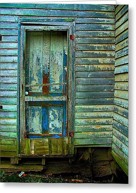 Julie Dant Photographs Greeting Cards - The Old Blue Door Greeting Card by Julie Dant