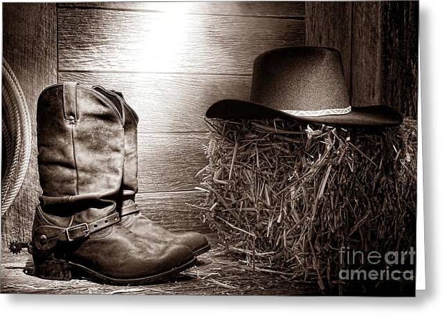 Black Boots Greeting Cards - The Old Boots Greeting Card by American West Legend By Olivier Le Queinec