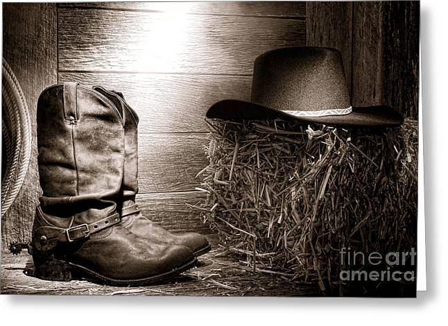 Western Boots Greeting Cards - The Old Boots Greeting Card by Olivier Le Queinec
