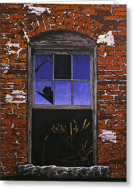 Egg Tempera Paintings Greeting Cards - The Old Brick Mill Window Greeting Card by Peter Muzyka
