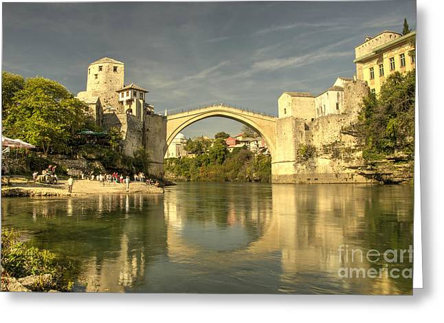 Staris Greeting Cards - The Old Bridge at Mostar Greeting Card by Rob Hawkins