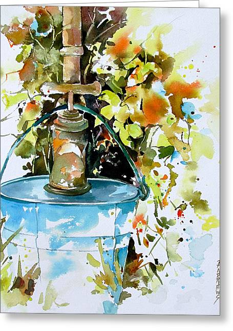 Faucet Paintings Greeting Cards - The Old Bucket Greeting Card by Rae Andrews