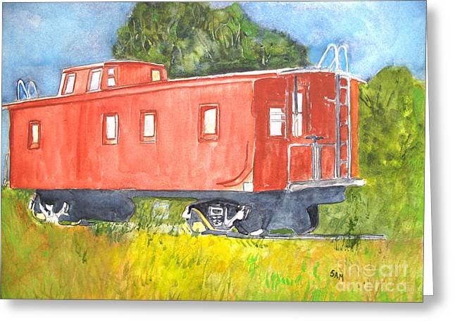 Caboose Paintings Greeting Cards - The Old Caboose Greeting Card by Sandy McIntire