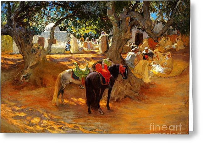 The Excursionists Greeting Cards - The Old Cafe near Algiers Greeting Card by Celestial Images