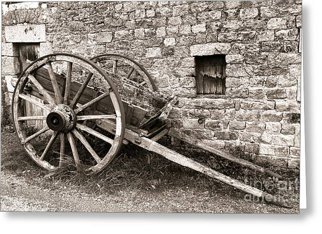 Wooden Wagons Greeting Cards - The Old Cart Greeting Card by Olivier Le Queinec