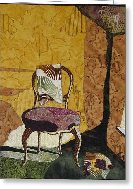 Old Tapestries - Textiles Greeting Cards - The Old Chair Greeting Card by Lynda K Boardman