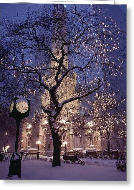 Old Chicago Water Tower Greeting Cards - The Old Chicago Water Tower Greeting Card by Lori Strock