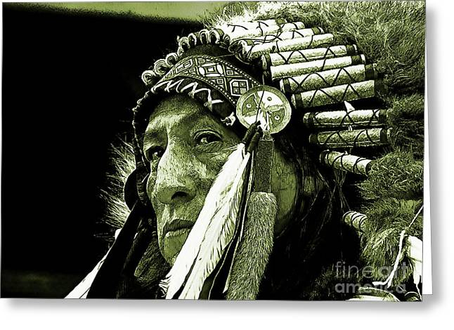 American Pride Pyrography Greeting Cards - The old chief Greeting Card by Christo Christov