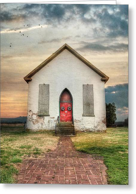 Country Schools Digital Greeting Cards - The Old Church Greeting Card by Lori Deiter