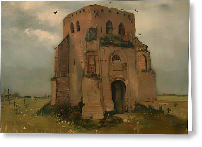 Headstones Greeting Cards - The Old Church Tower at Neunen Greeting Card by Vincent van Gogh