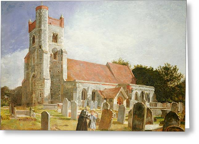 Old Churches Greeting Cards - The Old Church Greeting Card by William Holman Hunt