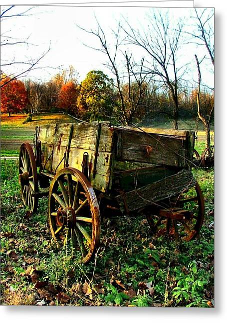 Autumn Prints Photographs Greeting Cards - The Old Conestoga Greeting Card by Julie Dant