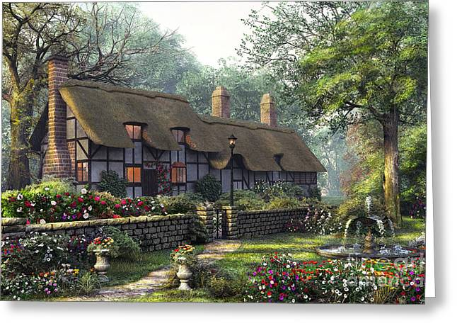 Thatch Digital Greeting Cards - The Old Cottage Greeting Card by Dominic Davison