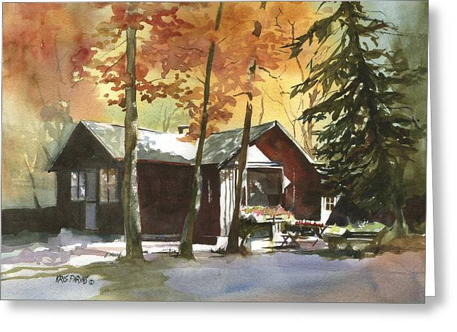 The Old Cottage Greeting Card by Kris Parins