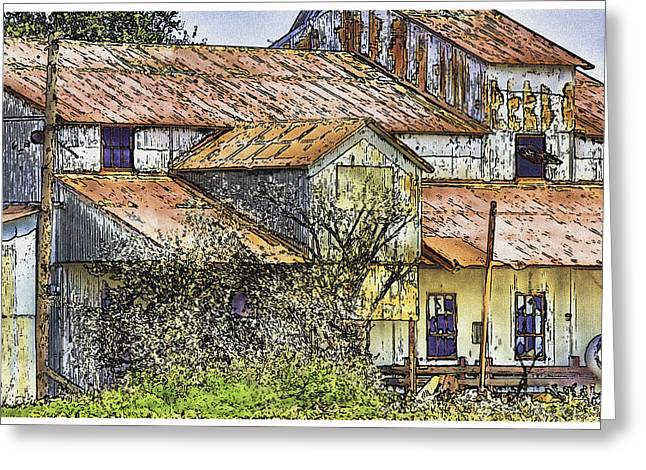 Old Barn Drawing Greeting Cards - The Old Cotton Barn Greeting Card by Barry Jones