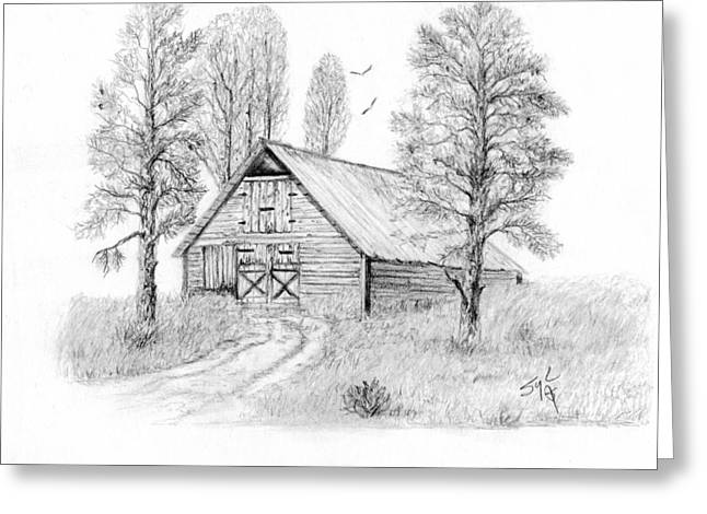 Old Barn Drawing Greeting Cards - The Old Country Barn Greeting Card by Syl Lobato